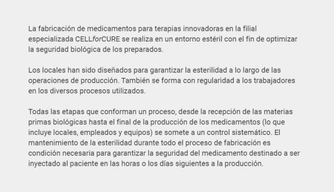 Seguridad de medicamentos de terapia celular